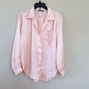 Vintage Argenti Size 8 Pink Checkered Print Blouse